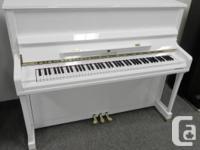 "Stunning 48"" Schiller 121 White Polish Upright Piano"