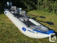 The Sea Eagle PaddleSki is 14 1/2 t long 3 1/2 ft wide