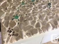 Genuine Victoria sea glass mosaic showing turtles