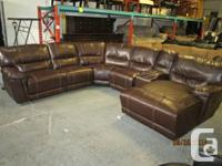 Natural leather Sectional Couch with reclining chairs