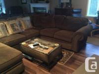 Brown corduroy style sectional couch like new