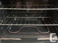This is a stainless steel glass top self-cleaning stove