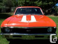 1970 Chevrolet Nova. The paint is Hugger Orange. The