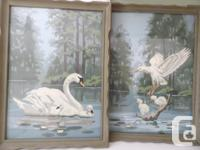 Retro fun! Set of 2 framed (wood) vintage paint by