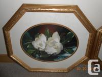 Set of 3 magnolias (under glass) framed in embossed
