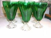 This is a vintage set of (6) forest green and crystal