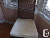 2 arm chairs + 4 side chairs, dark brown wood frames,