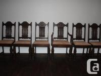 Set of 6, Beautifully Carved, solid oak dining room