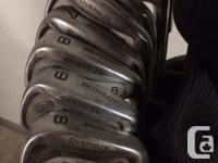 Set of 9 Dunlop Reaction golf clubs , 3 drivers and