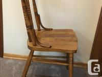 Set of four Antique solid hardwood chairs. Molded seat