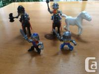 3 fine horses with 2 with armour 4 knights dressed in