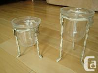 Set of 2 White Powder Coated Metal and Crackled Glass