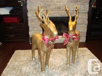 Beautiful Set Of Xmas Reindeer - Gold Painted Paper