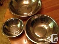 Selling a set of 3 stainless steel mixing bowls. Nest