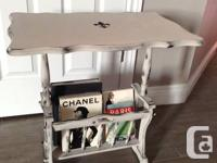 Beautiful Grey Side Table with built in magazine rack
