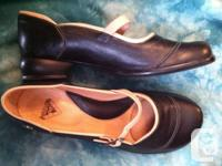 Fluevog Fellowship Sandra, black with tan trim, worn