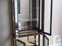 Wood And Glass Cabinet With Glass Shelving, Back