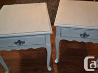 Pretty solid wood bedside tables with a French