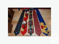 Collection of mostly silk novelty silk ties, including