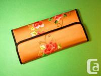 Suzhou Embroidery Silk Wallet - Orange  Material: Silk