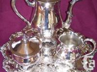 "5 piece Silver plated tea service with 14"" service tray"