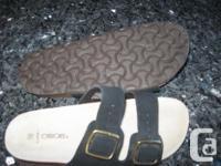 Just like Birkenstock sandals. Size 10 black swede