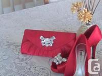 Brand New Red Satin Jeweled Shoes/ClutchPurse - I think