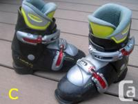 Two pairs of small-size youth alpine ski boots for
