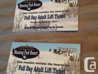2x Full Day Adult Lift Tickets, total $60 obo.  Regular