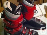 Atomic ski boots and Elan  skis also a set of poles