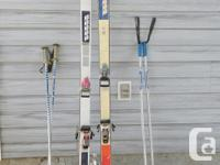 Skis are K2 brand the tall are 6 ft and the shorter are