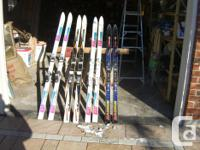 Skis with Bindings for sale. $15 each set. Skis: