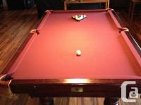 National 4 x 8 slate pool/snooker table, three piece 1""