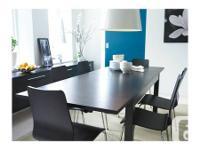 Set includes:  - 1 black Ikea Bjursta dining table  - 4
