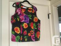 Sleeveless floral top and matching jacket. Made by