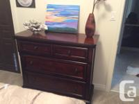 Never used mattress. Espresso wood Sleigh bed has 2