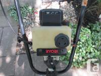 SMALL RYOBI ROTOTILLER, 2 Cycle Gas, Model 410r. Unit