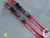 Five pairs of junior alpine shaped skis for sale. Sizes