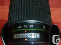 This Pentax-DA 16-45mm F4 is a great lens and is in