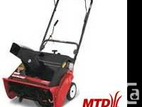 MTD walk behind snow-thrower. Powerful 4.5HP two-stroke