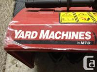 This SNOW BLOWER is next to NEW its a yard machine has
