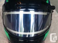 Dimension small helmet, possesses heat visor as well as