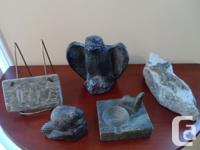 -- SOAPSTONE PIECES -Eagle, Beaver, Walrus And Seal--.