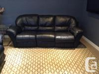 Excellent quality black natural leather couch & & seat