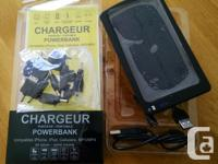 Solar charger power bank with 10 adaptors will recharge