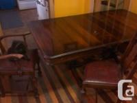 Solid Antique Walnut Dining Table with two leaf