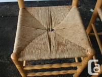 Two solid birch ladder back chairs made by Bass River