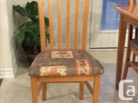 Solid birch wood dinette table with leaf and 4 matching