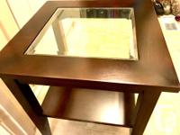 Solid dark brown wood with glass top small table 20.4