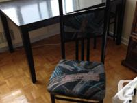 """This dark brown table is 35"""" x 59"""" at a height of"""